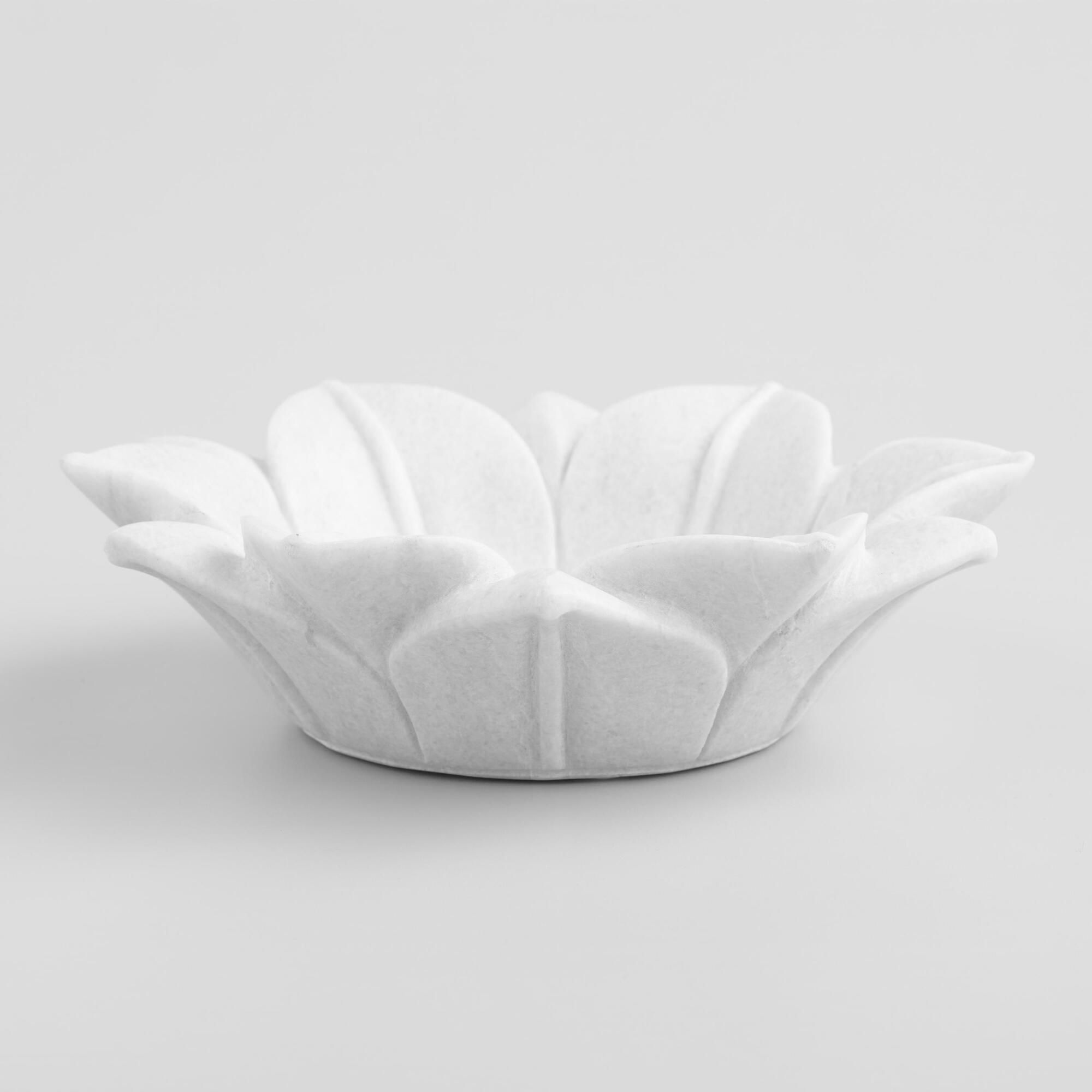 White Marble Lotus Bowl By World Market In 2020 Lotus Bowls Handmade Bowl White Marble