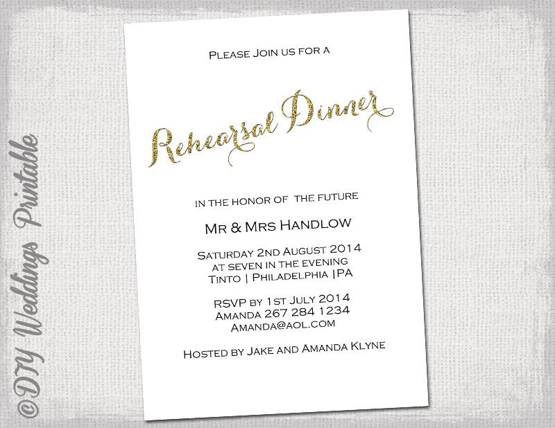 Rehearsal Dinner invitation template Gold glitter DIY Printable