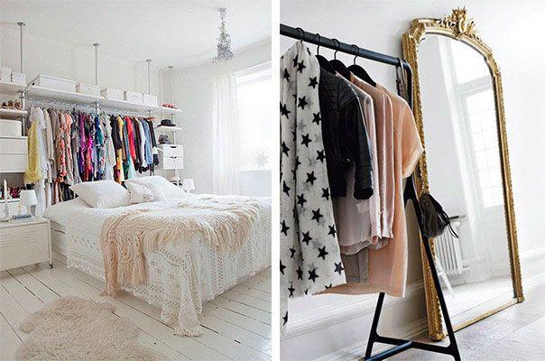 """Eu sei que o sonho da maioria dos meus leitores é ter armários enormes, espaçosos e lindos. De preferência muitos. Mas como nem sempre as coisas são como a gente quer, eu trouxe<a href=""""http://bbel.com.br/organizacao/post/bbel-viu-e-gostou-1/como-driblar-a-falta-de-armarios-no-quarto"""">ideias para driblar a falta de armários no quarto sem abrir mão do charme e da organização.</a>"""