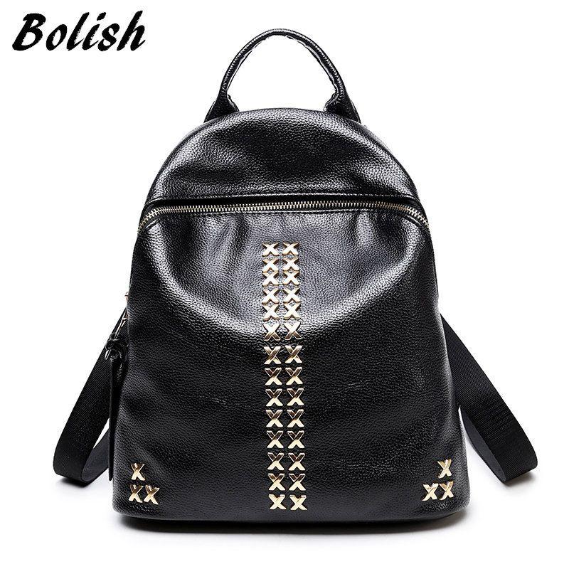 550fac503421 Bag · Bolish New Arrive High Quality PU Leather Women Backpack Preppy Style  Girls School Bag Fashion Rivet