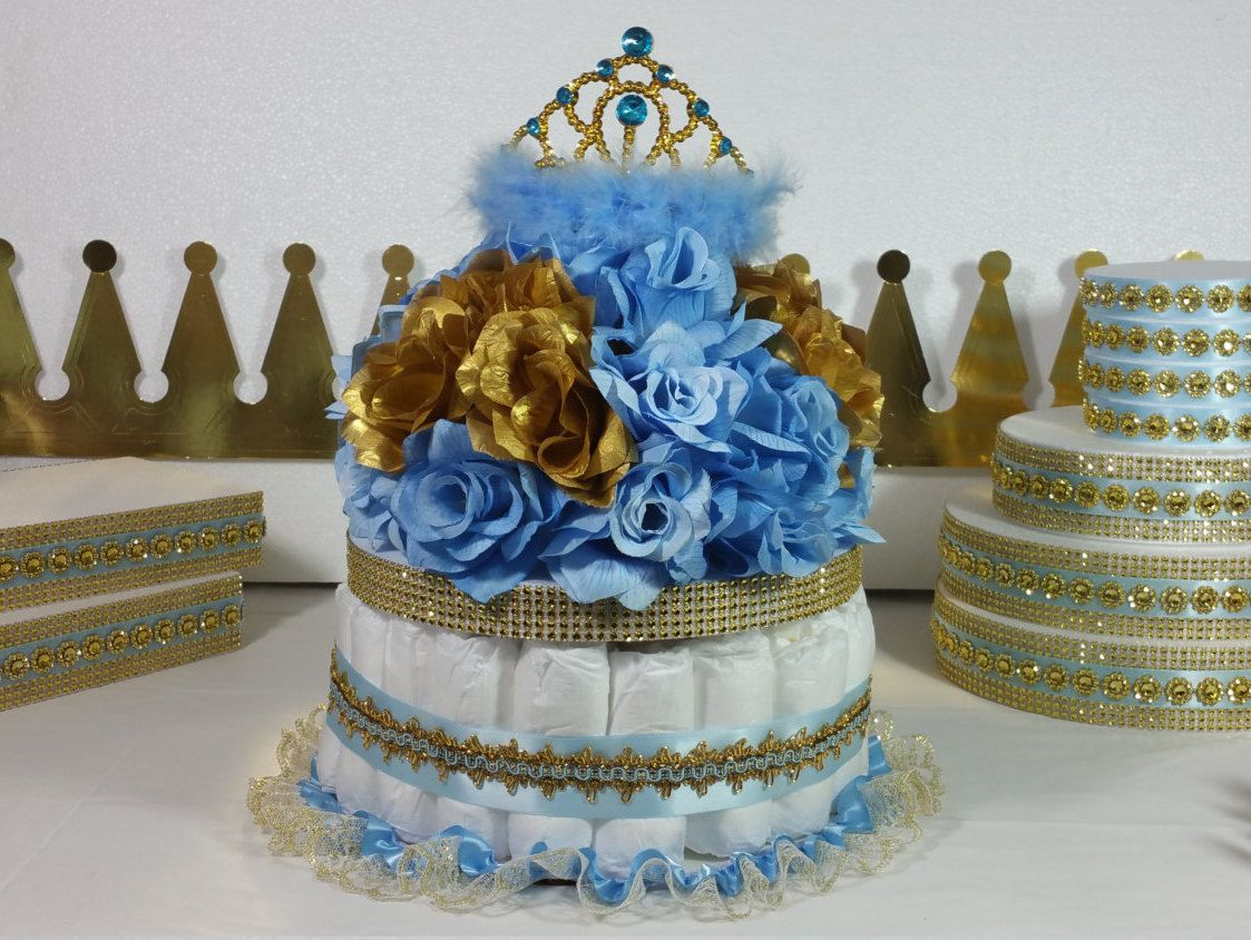 Blue And Gold Baby Shower Decorations Little Prince Glitter Gold Navy Blue Crown Mini Diaper Cake