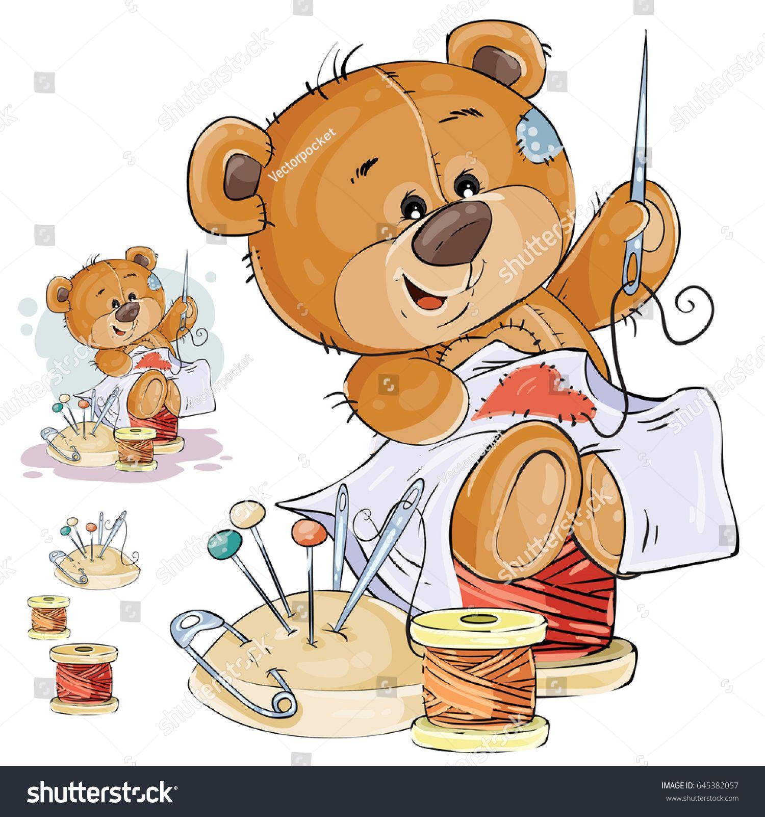 Vector Illustration Of A Brown Teddy Bear Tailor Sews A Red Patch In The Shape Of A Heart Print Template Design E Bear Art Cute Teddy Bears Brown Teddy Bear