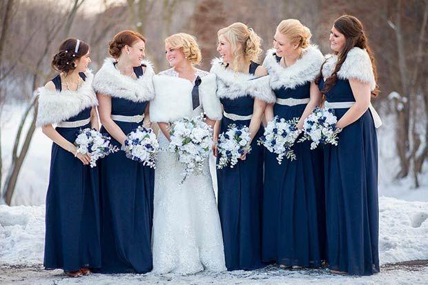 Navy Blue Winter Bridesmaids And White Fur Shawls Winter Bridesmaid Dresses Rustic Bridesmaid Dresses Blue Winter Wedding