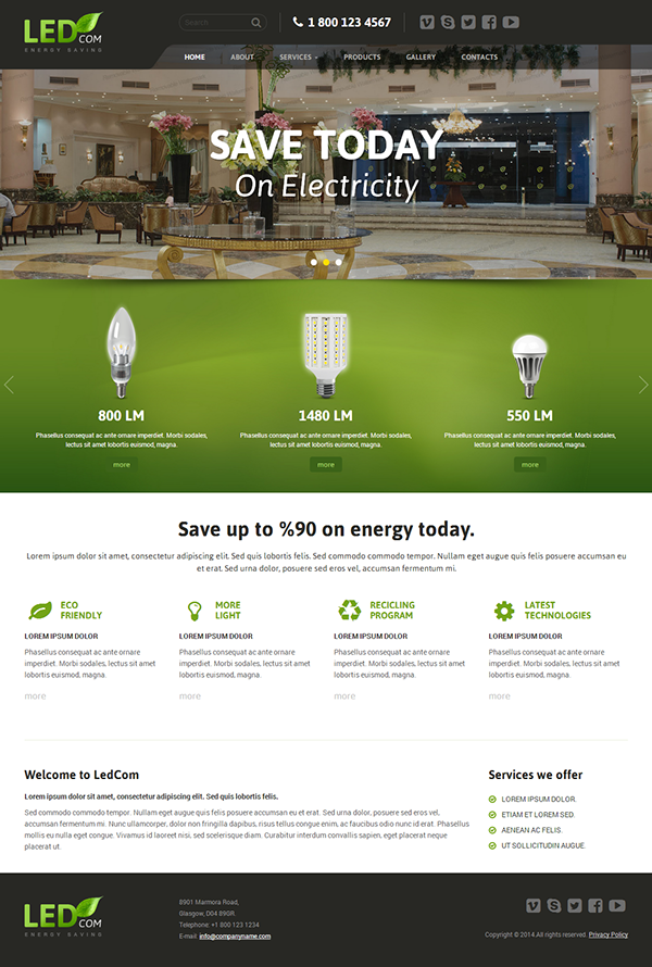 Energy saving HTML Template by Dynamic Template