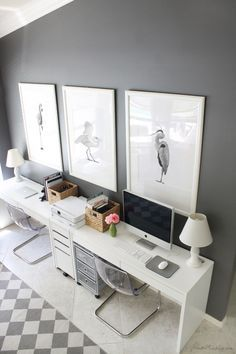 Gray And White Ikea Home Office For Two