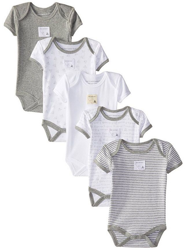 Burt S Bees Baby Set Of 5 Bee Essentials Short Sleeve Bodysuits