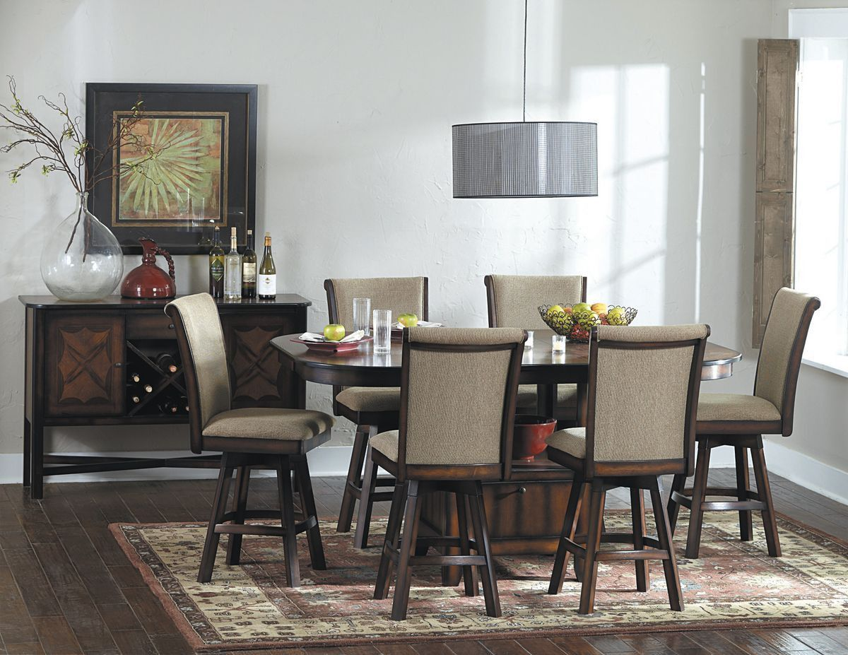 Kitchen sets with swivel chairs - Westwood 7pcs Counter Height Dining Set With Swivel Chair 626