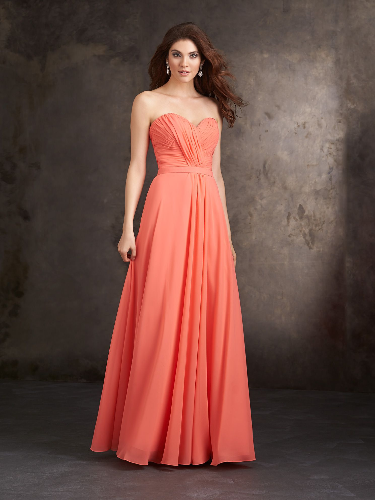 b9fd926d15f Allure Bridesmaids STYLE  1415 This strapless sweetheart dress features  gracefully draped chiffon.