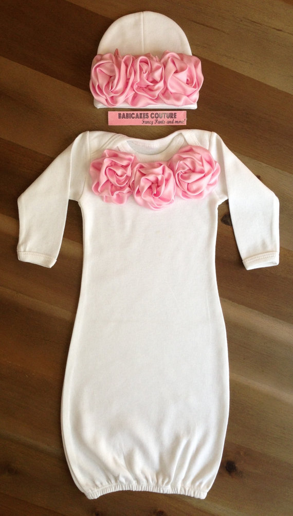 Newborn Girl Take Home Outfit, Pink and White Baby Gown & Beanie ...
