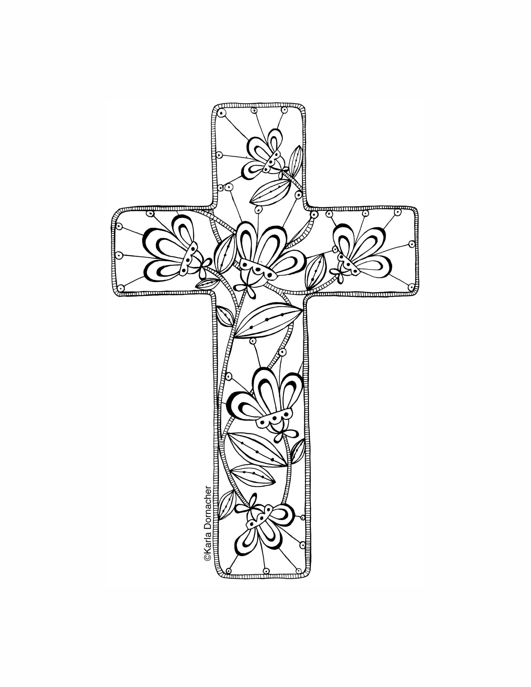 KD Floral Cross Coloring Pagepdf