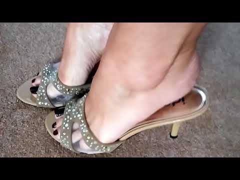 Mature beautiful feet sandals