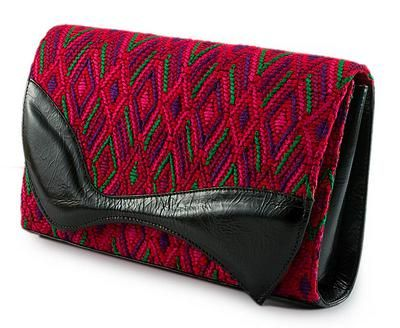 Novica Leather accent cotton clutch handbag, Santa Maria Red