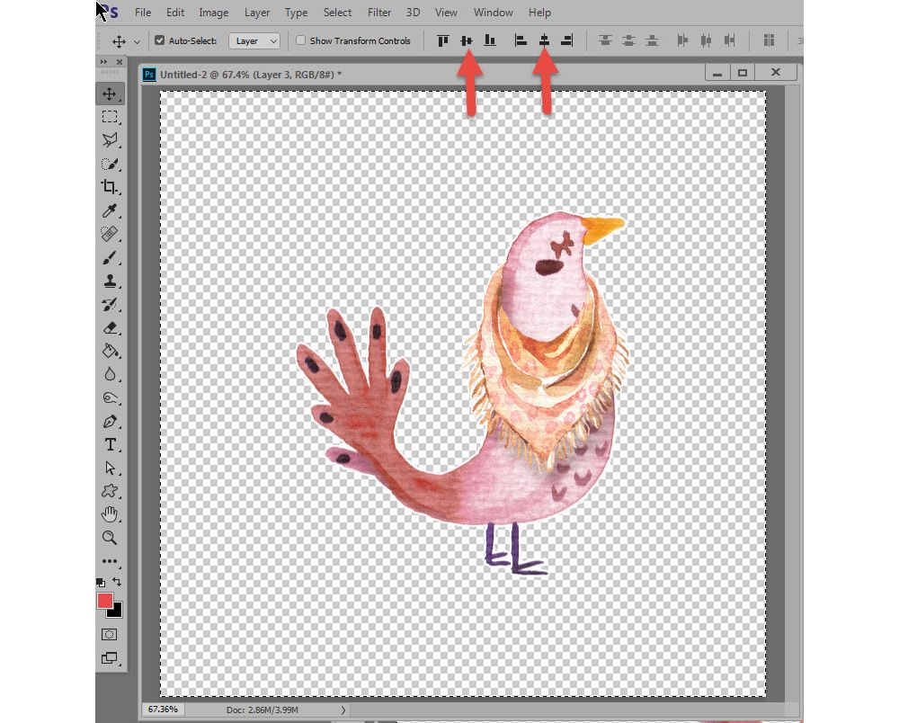 Centering images in photoshop
