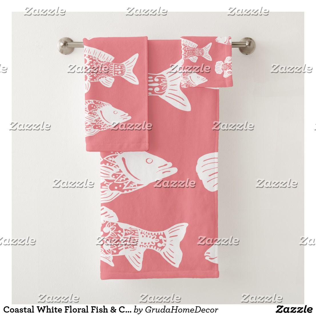 Coastal White Floral Fish Coral Pink Bath Towel Set Zazzle Com