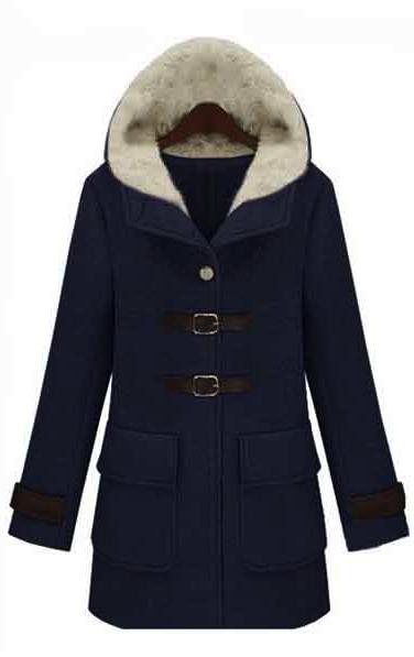 Woolen coat - navy blue