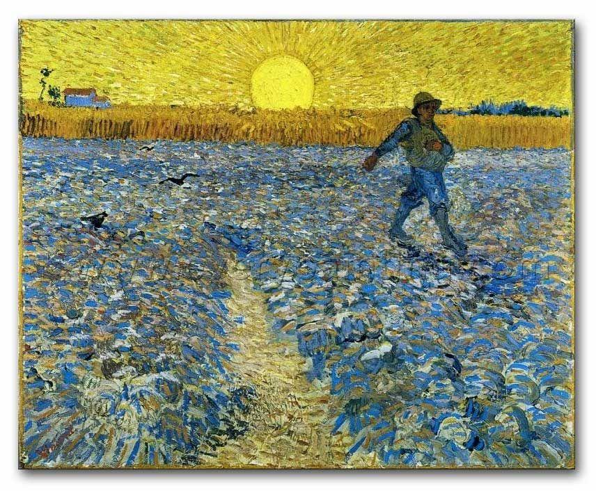 Qua onderwerp heeft van Gogh niks met mijn werk te maken, maar zijn kleuren gebruik komt wel erg dicht in de buurt met mijn idee. De zaaier die hij in 1888 maakte is geschilderd met een ondergaande zon op de achtergrond. Op veel foto's en schilderijen gaande over de savanne is dit terug te zien. Dit felle geel zou wel heel vet zijn met zwart geverfde dieren, ik twijfel alleen of de achtergrond dan niet te veel gaat opvallen. Maar het blijft een mogelijkheid.