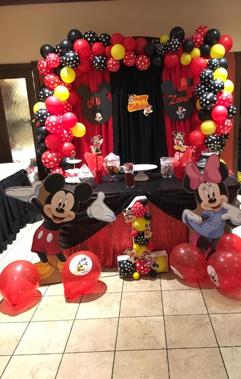Red Mickey Mouse Minnie BALLOON ARCH with COLUMNS Birthday Party Decoration Twin
