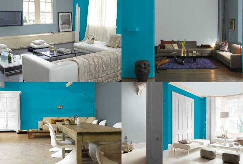 Bleu Turquoise Et Gris En  Ides De Peinture Et Dcoration  Bleu