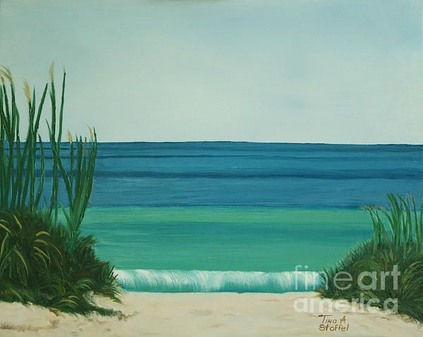 Turquoise Beachl Painting by Tina A Stoffel