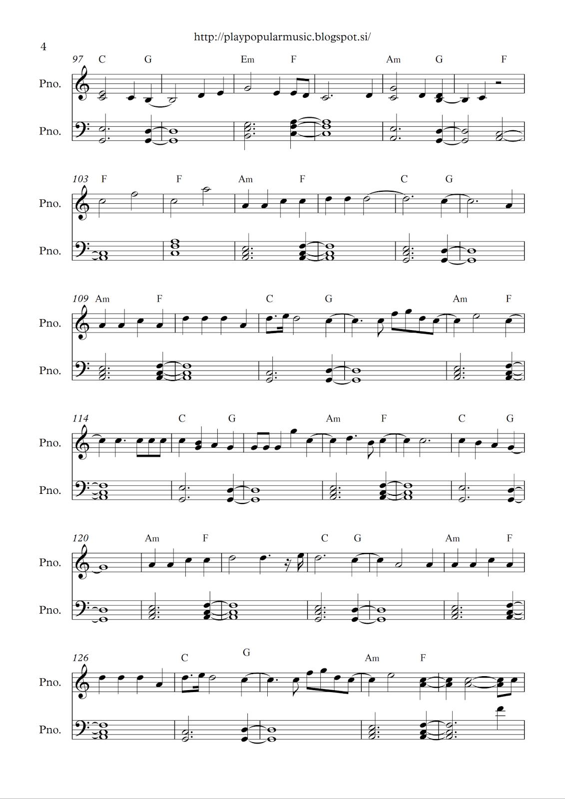 Free full piano sheet music: Adele - Hello.pdf My favourite ...