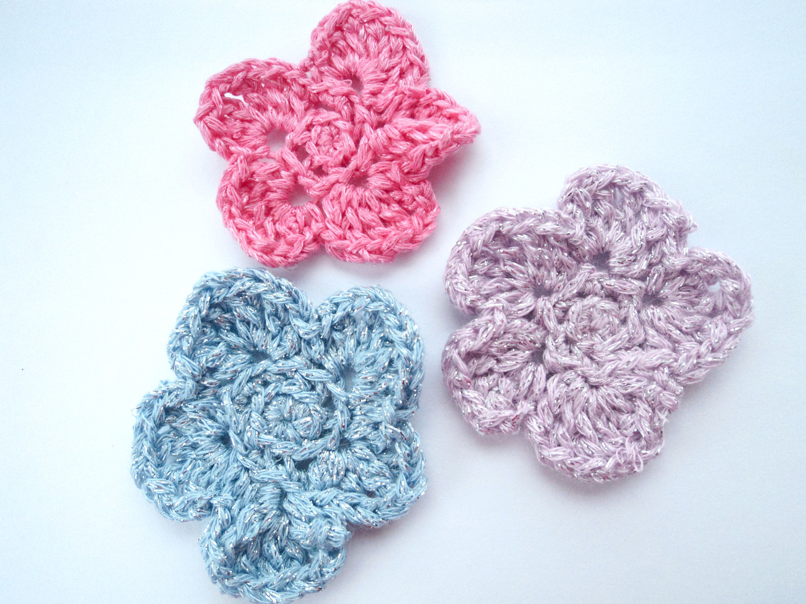 Crochet Flower Appliqué. Perfect for Scrap booking, Card embellishments, Bow making ETC.