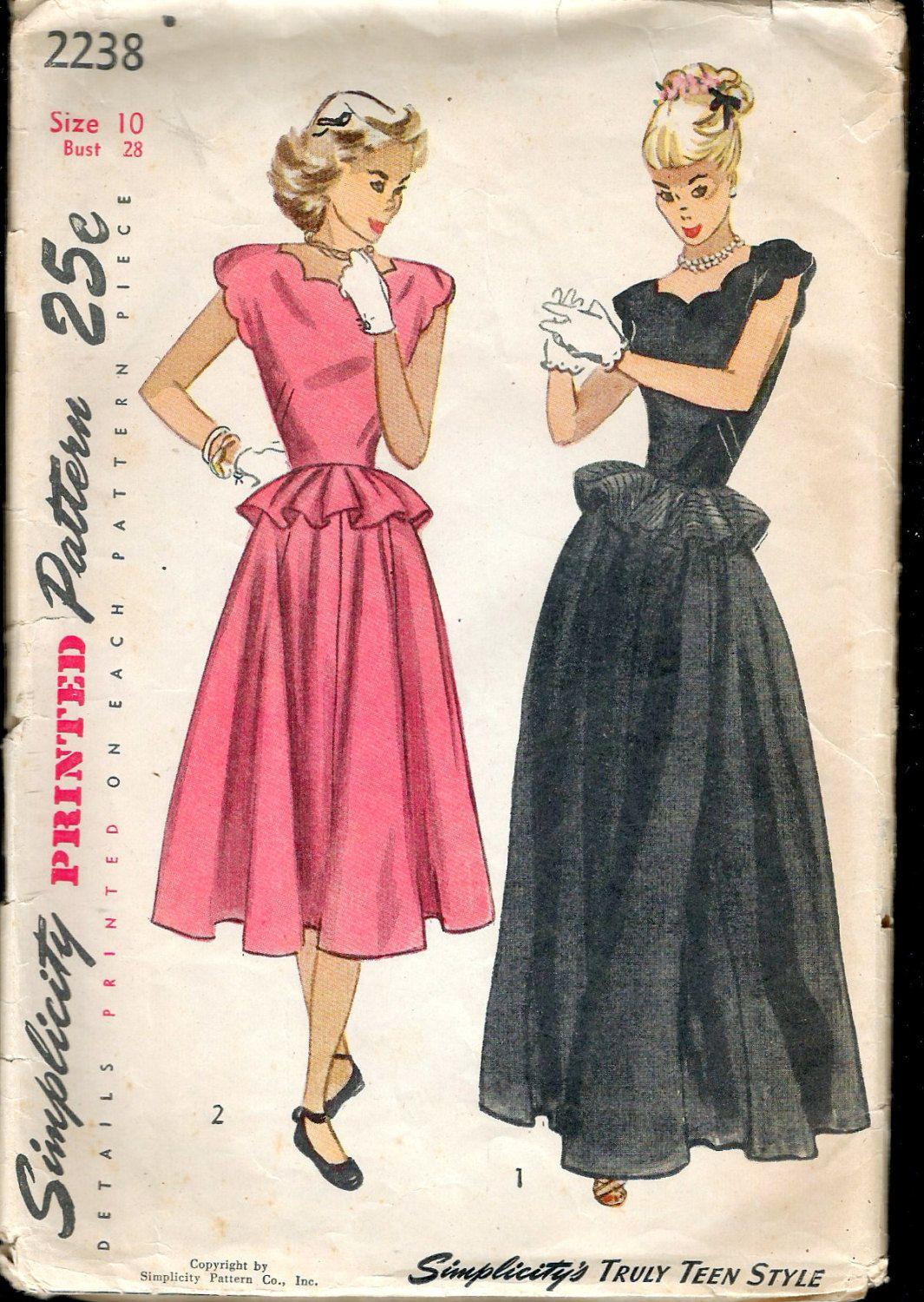 """Vintage 1947 Simplicity 2238 Teen-Age One-Piece Daytime & Evening Dress Sewing Pattern Size 10 Bust 28"""" by Recycledelic1 on Etsy"""