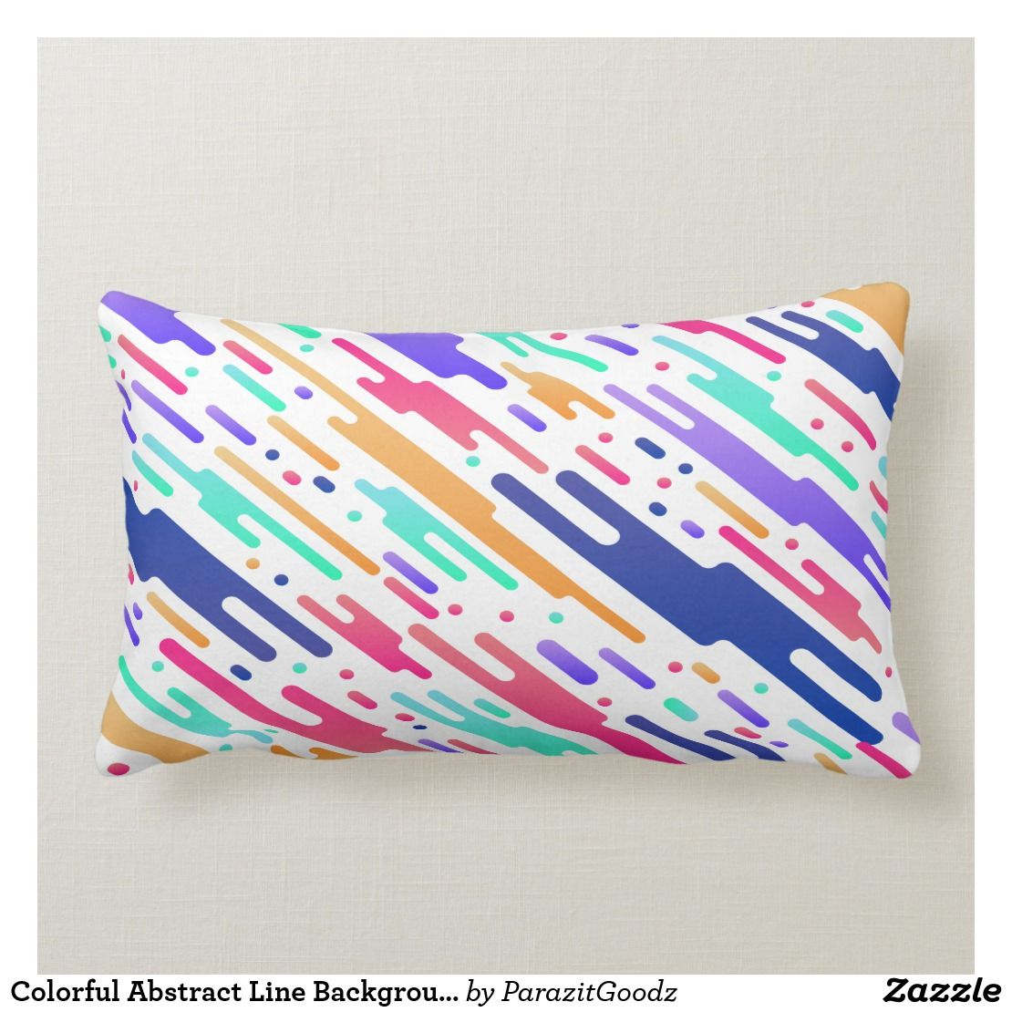Colorful Abstract Line Background Lumbar Pillow Zazzle Com Pillows Custom Pillows Abstract Lines