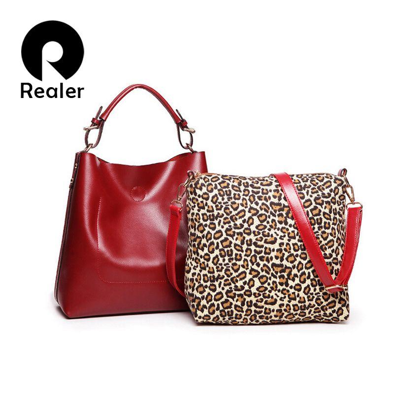 03aaccd9b988 Бренд Realer черная/красная женская сумка хобо с короткими ручками,  маленькая сумка через плечо с леопардовым принтом, сумка из искусственной  кожи купить в ...