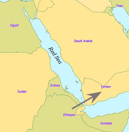 The arrow shows The Bab-el-Mandeb crossing in the Red Sea R0a is - new ethiopian plateau on world map