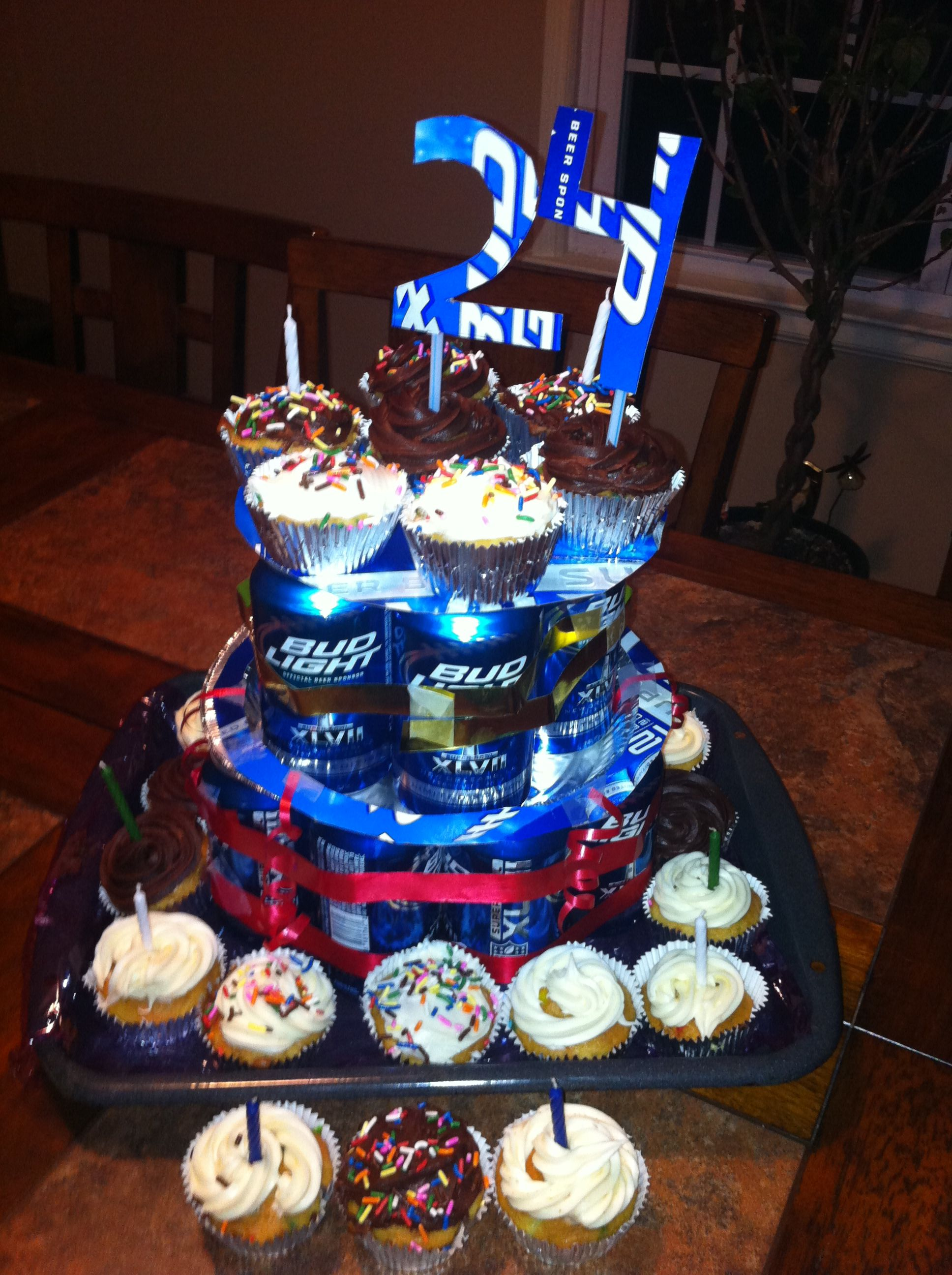 Outstanding Beer Can Birthday Cake 12 Pack Of Beer 24 Cupcakes One Pie Funny Birthday Cards Online Alyptdamsfinfo