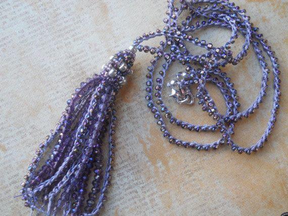 Lilac Boho Tassel Necklace  Purple beaded by TerebellumStudio