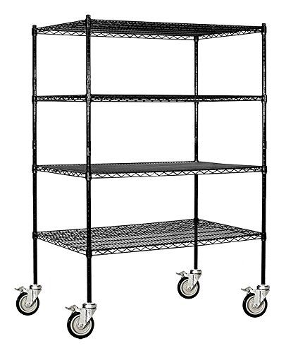 Salsbury Industries Mobile Wire Shelving Unit 48inch Wide By 69inch High By 24inch Deep Black Details Can Be Shelving Unit Wire Shelving Units Wire Shelving