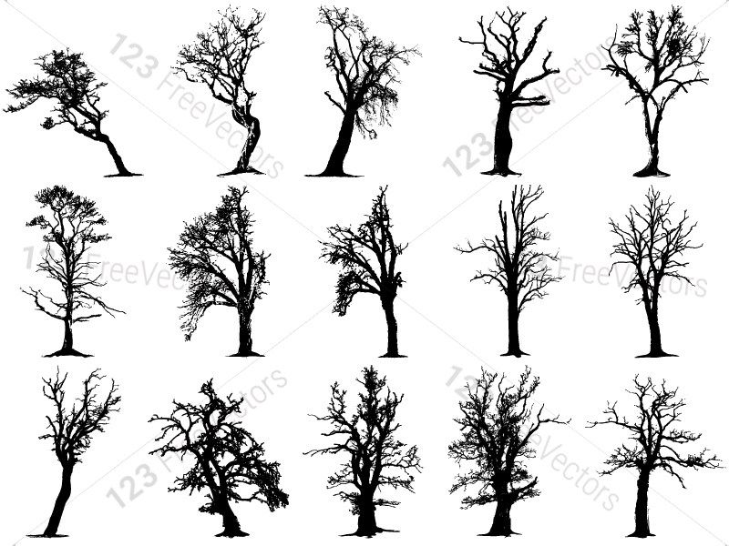 Tree Silhouettes Vector And Photoshop Brush Pack 03 Tree Silhouette Silhouette Vector Photoshop Brushes