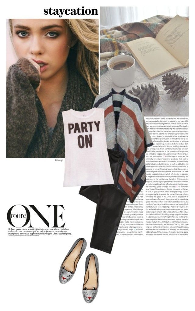 """""""Cozy Staycation Style"""" by naomimjc ❤ liked on Polyvore featuring Charlotte Olympia and Topshop"""