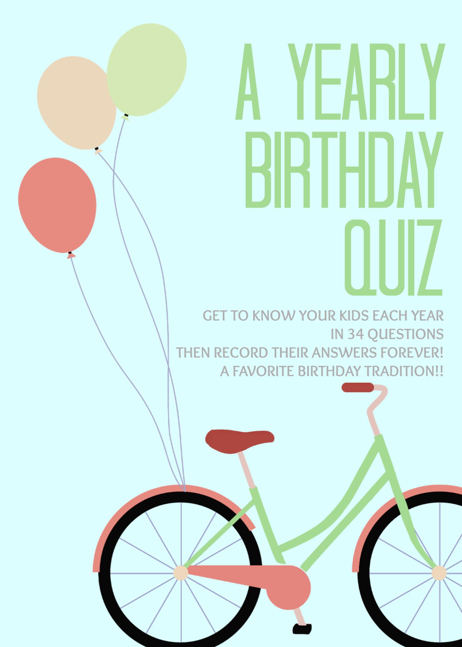 A Birthday Questionnaire Birthday Quiz Birthday Traditions