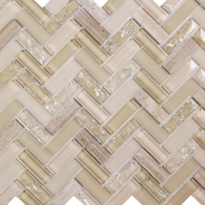 Herringbone Ivory Mosaic Glass Tile With Cracked Clear And Frosted