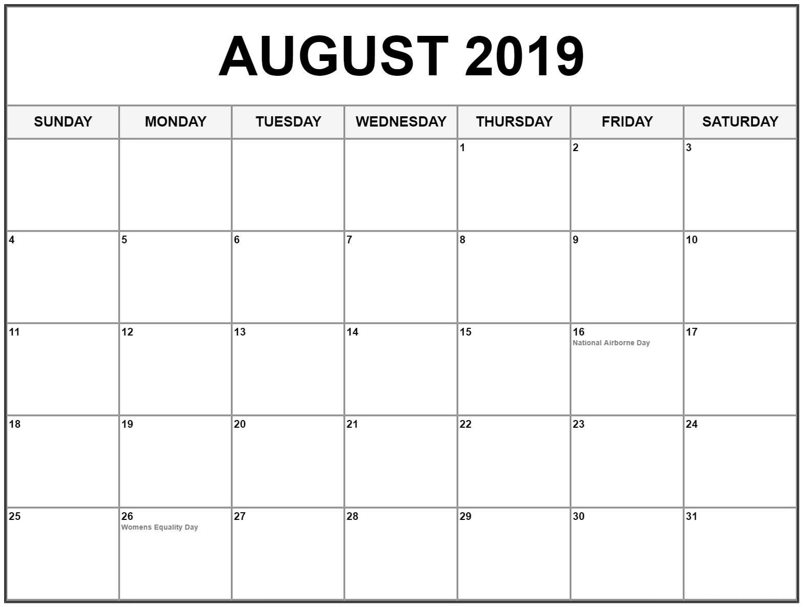 august 2019 calendar with holidays usa  canada