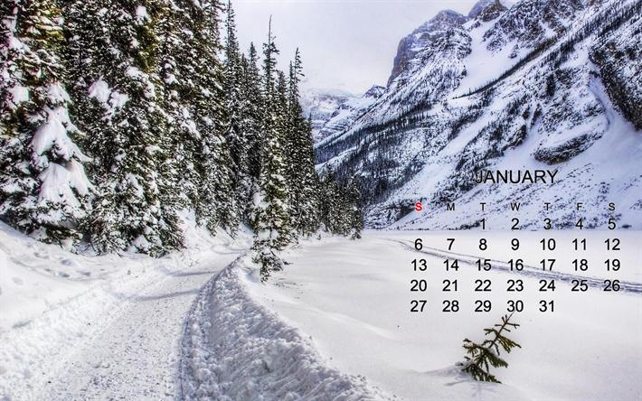 Download wallpapers 2019 January calendar, winter