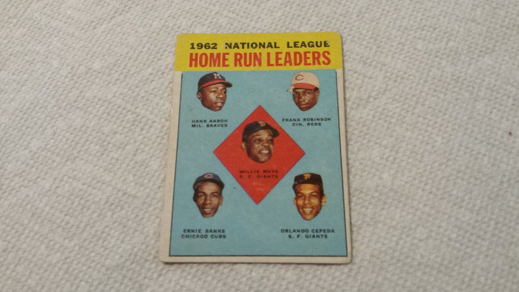 1963 topps h aaron e banks o cepeda w mays f