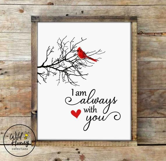 I Am Always With You Cardinal Red Bird Printable Wall