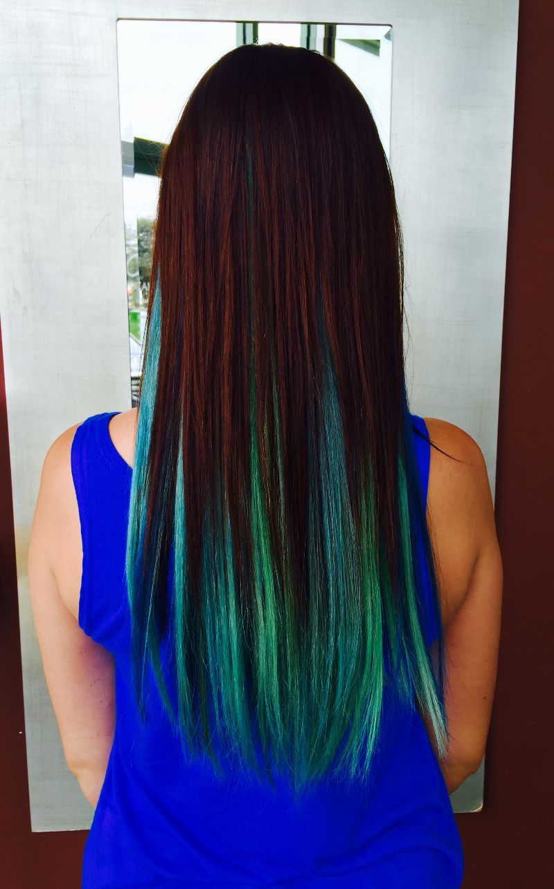 Red blue and green hair by mia in our batavia location