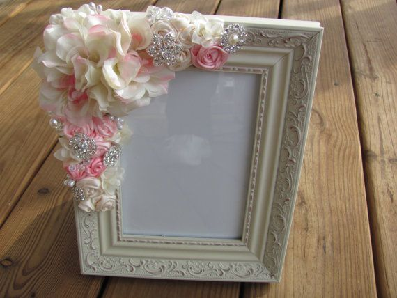 Custom Cream Wedding Picture Frame With Ribbon Roses And Wedding Picture Frames Picture Frames Frame