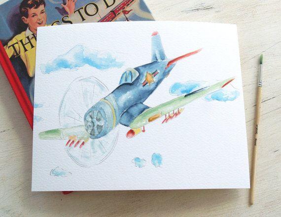 Watercolor Airplane Print Vintage Airplane Corsair Wwii