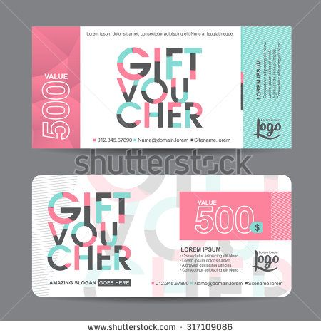 gift voucher template with colorful patterncute gift voucher certificate coupon design templatecollection gift certificate business card banner calling
