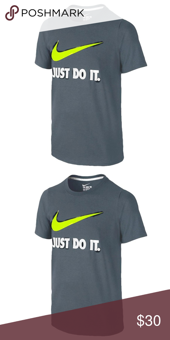 269d039b NIKE Men's Charcoal Gray Neon Green T-shirt - XL Men's charcoal gray  short-sleeved tee shirt with neon green swoosh and white graphic on front.