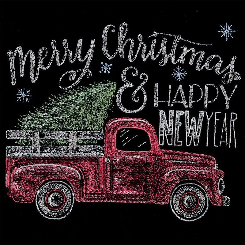 Merry Christmas Happy New Year Truck Machine Embroidery Design By Shannon Ro Machine Embroidery Christmas Christmas Tree Embroidery Design Machine Embroidery