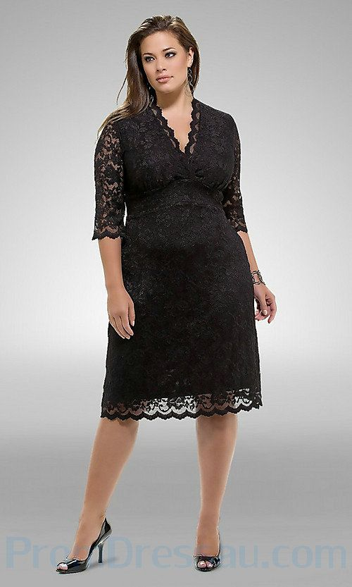Lace V Neck Middle Sleeves Knee Length Fabulous Plus Size Prom ...