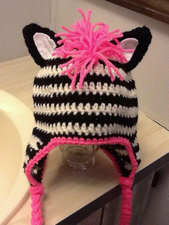 PINK ZEBRA! | Things for my mom to crochet :) | Pinterest | Mütze