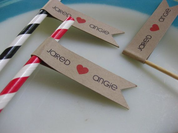 Custom Woodland Wedding Straw Flags Pennant Favor Stirrer