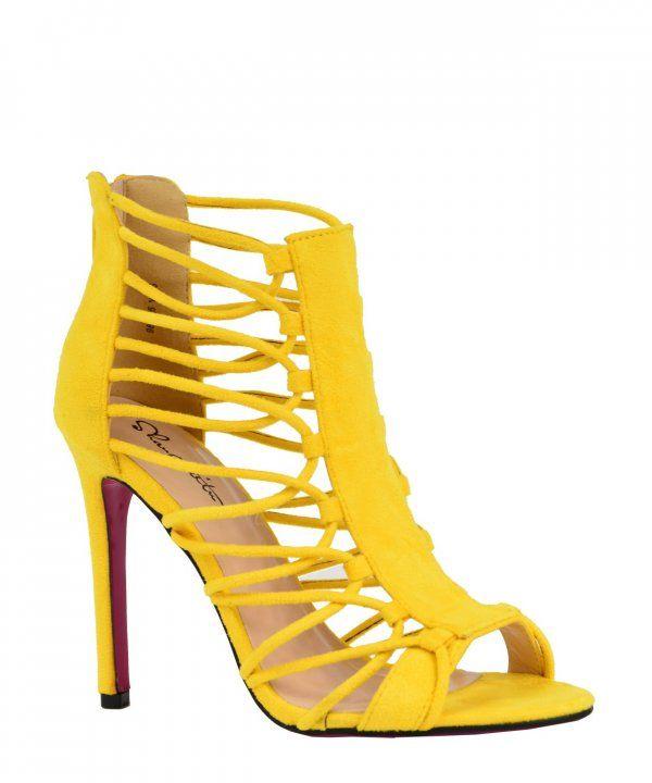 Γυναικεία πέδιλα κίτρινο με laces 98865D